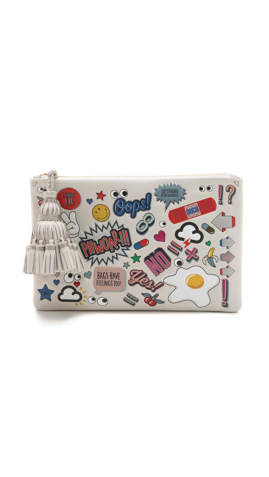 Georgiana Wink Stickers pouch - White Anya Hindmarch Free Shipping Popular pv8c90j9j