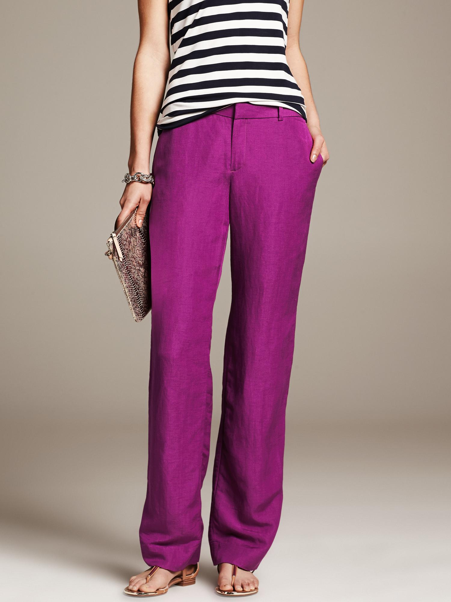 Banana Republic Linen Blend Wide Leg Pant Berry Paradise