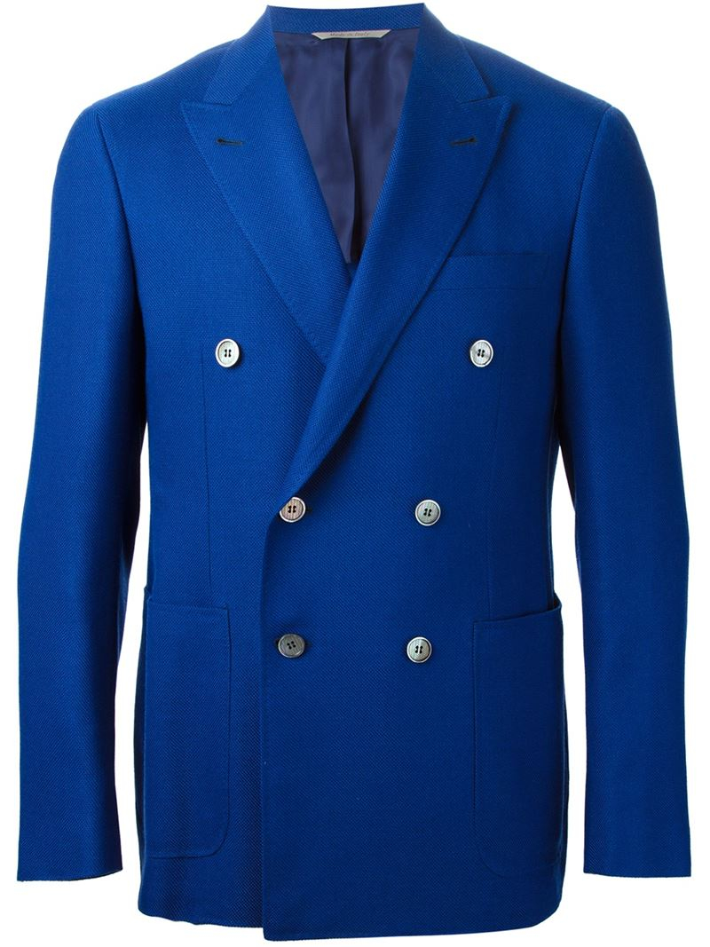 2f0c1c5cfa8 Canali Pique Cross Blazer in Blue for Men - Lyst