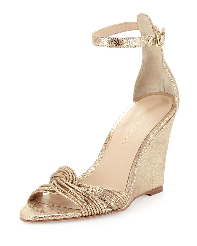loeffler randall allegra metallic wedge sandal in gold lyst
