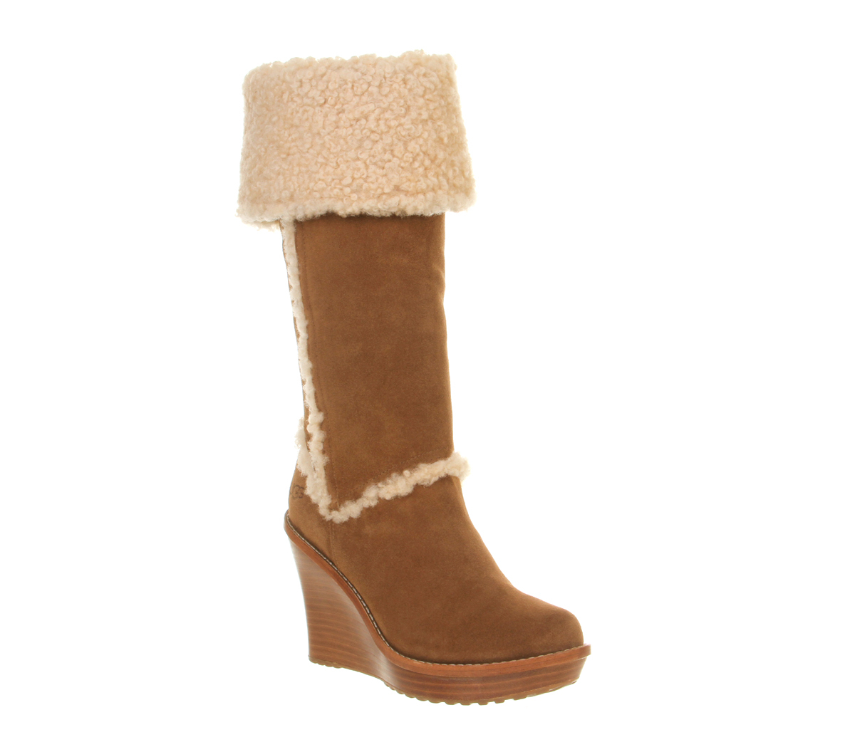 ugg aubrie wedge shearling knee boots in brown lyst