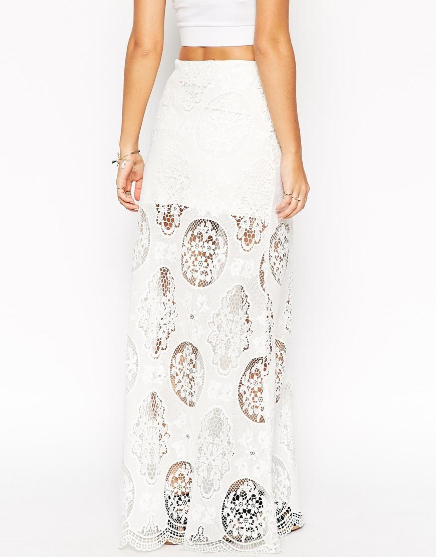 asos premium lace maxi skirt in white lyst