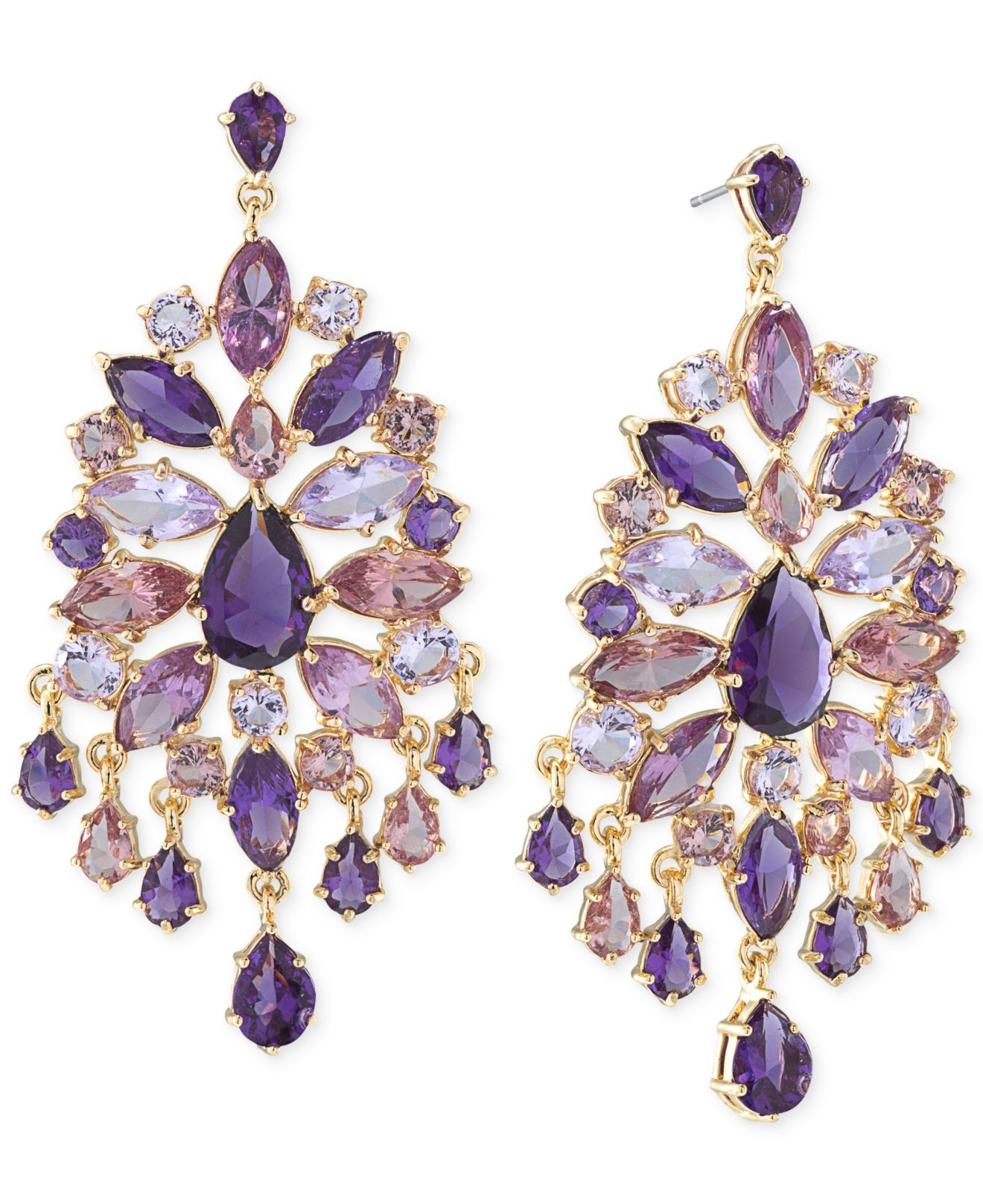 Carolee Goldtone Purple Large Chandelier Earrings in Purple – Gold Tone Chandelier Earrings