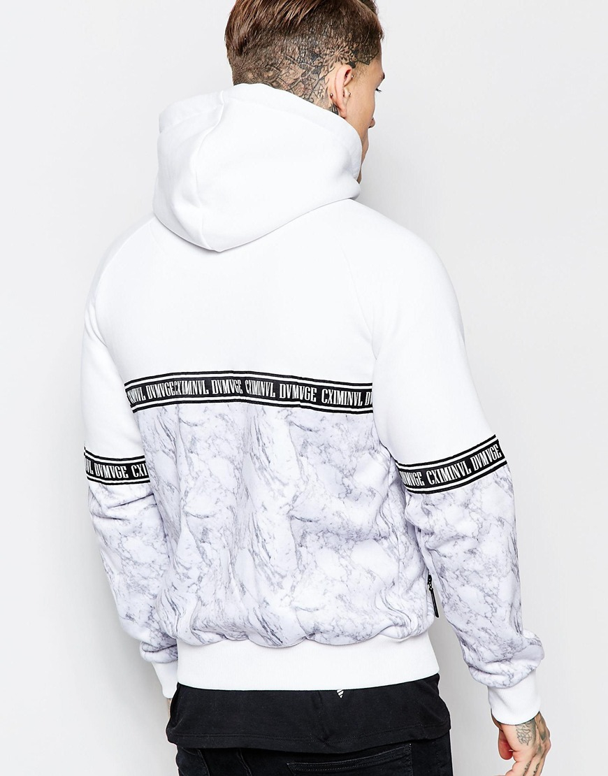 Criminal Damage Zip Up Hoodie In Marble Print And Taping