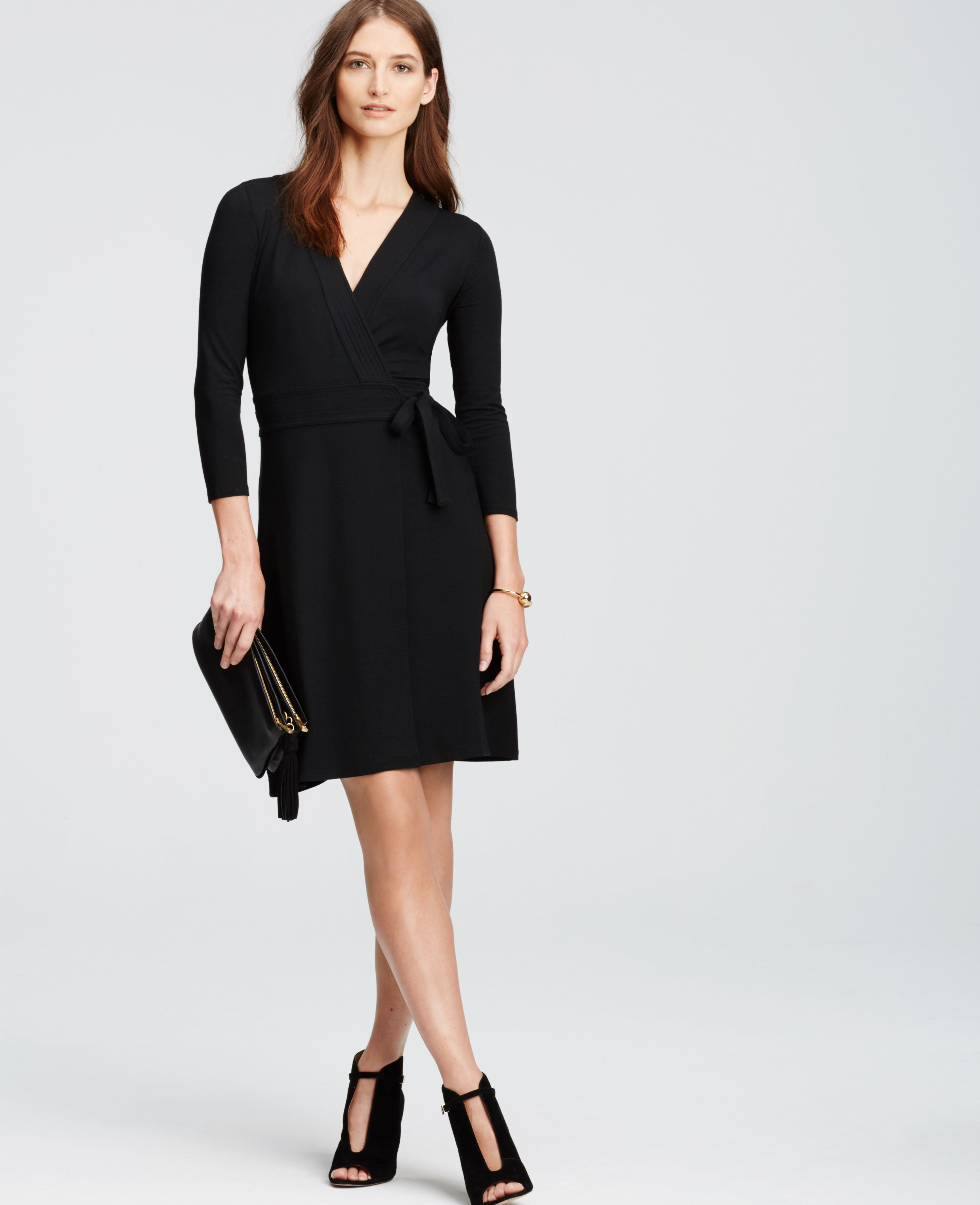 Ann taylor Petite 3/4 Sleeve Wrap Dress in Black | Lyst