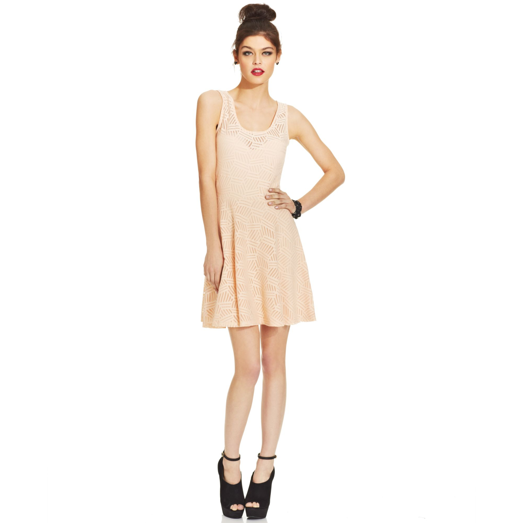 Lyst - Material Girl Juniors Lace Skater Dress in Natural 6a291f1be