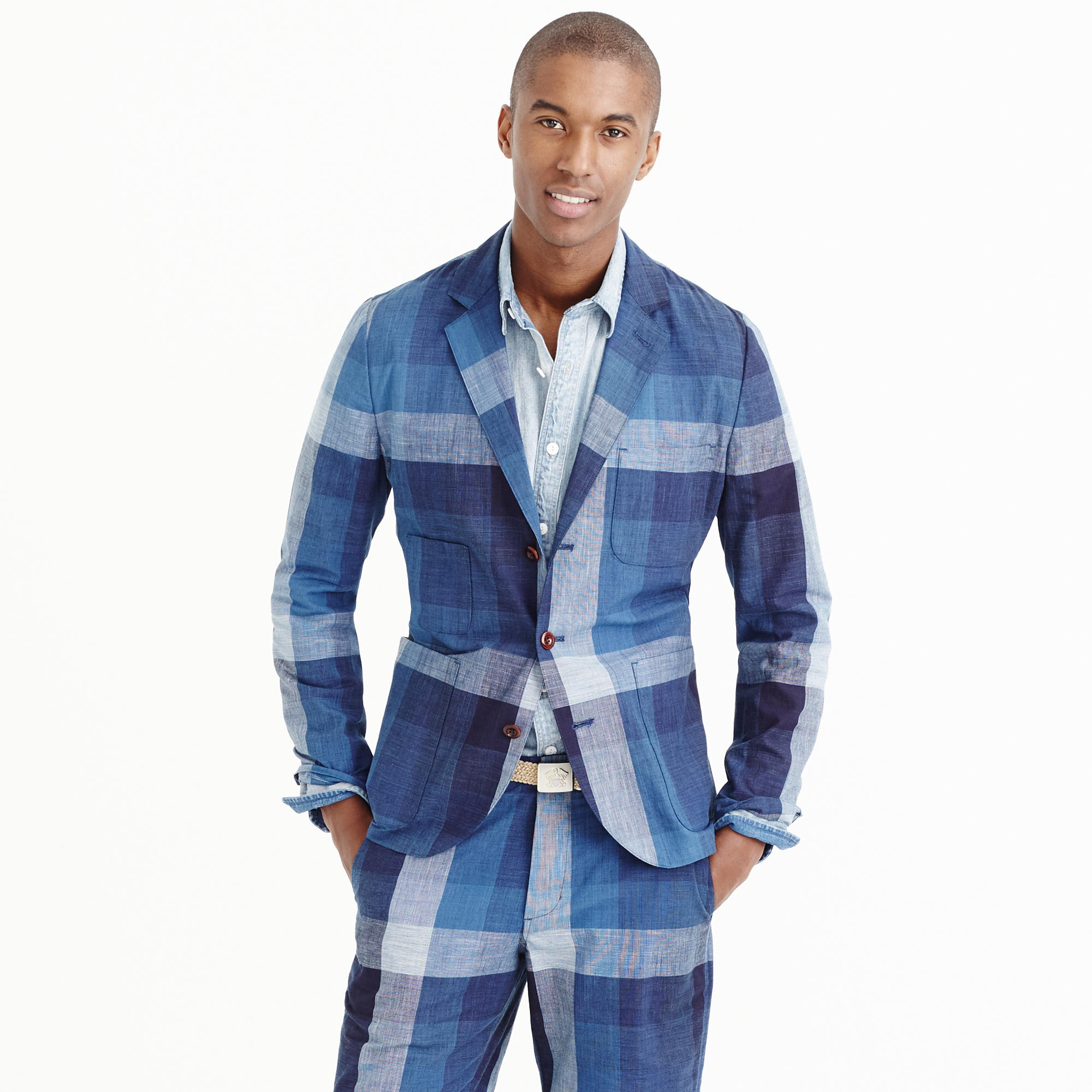 Wallace barnes worker suit jacket in indigo for J crew mens outfits