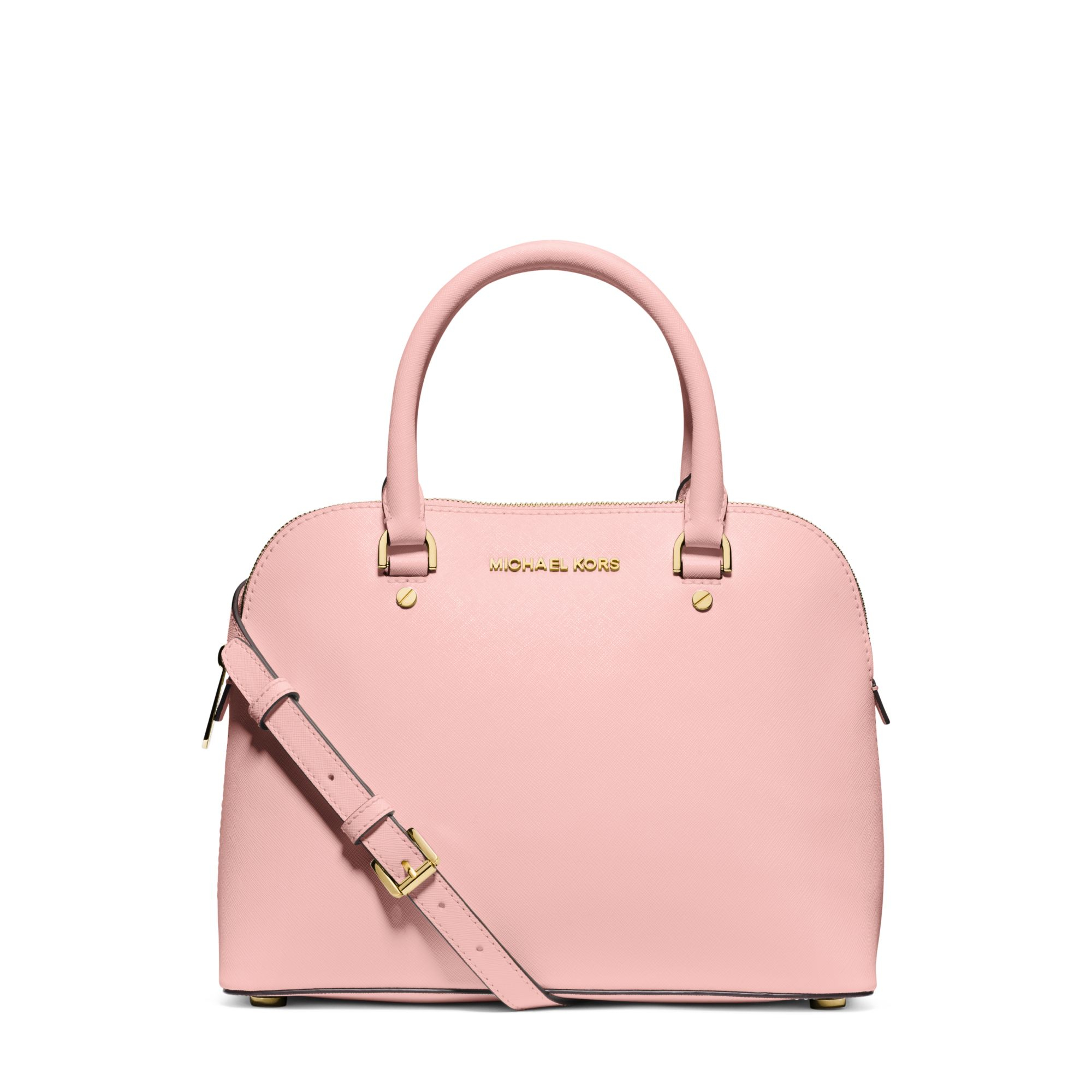 michael kors cindy medium saffiano leather satchel in pink lyst. Black Bedroom Furniture Sets. Home Design Ideas