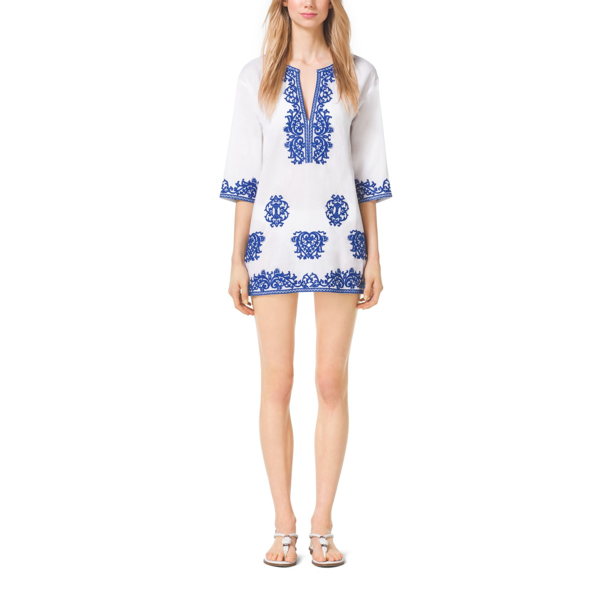 e925fbbac50 Lyst - Michael Kors Embroidered Cotton Tunic in White