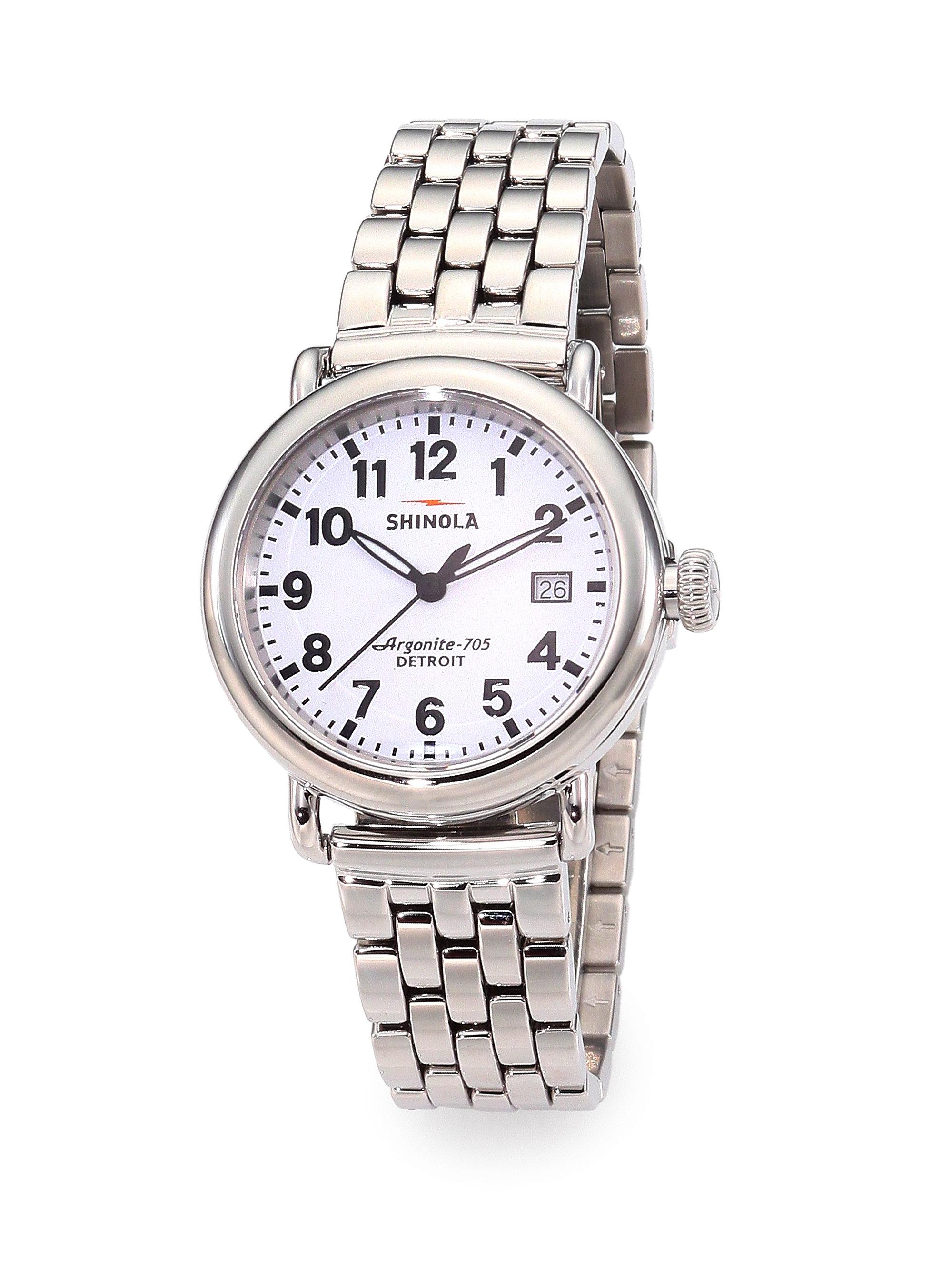 Shinola runwell stainless steel bracelet watch in silver lyst for Shinola watches