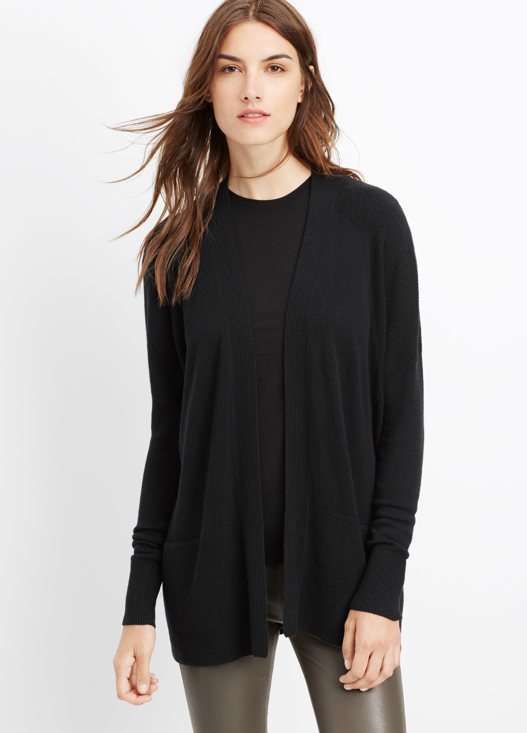 Vince Cashmere Pointelle Trim Open Front Cardigan in Black | Lyst