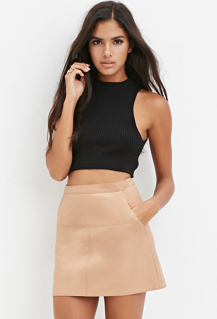 Nude Leather Skirt