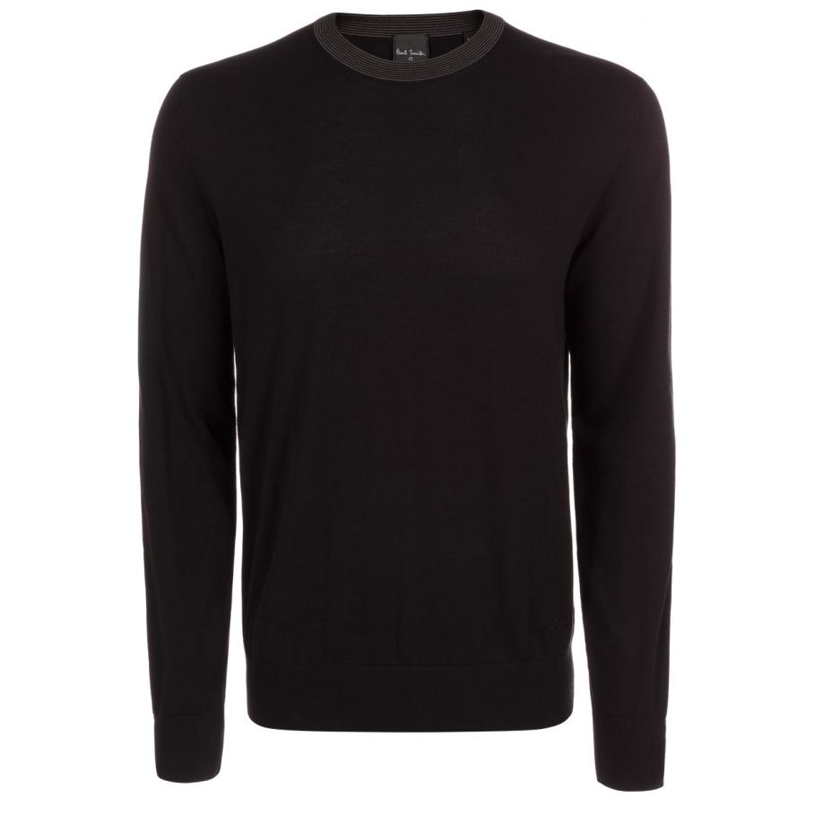 Paul smith Men's Black Cotton Sweater With Striped Collar in Black ...