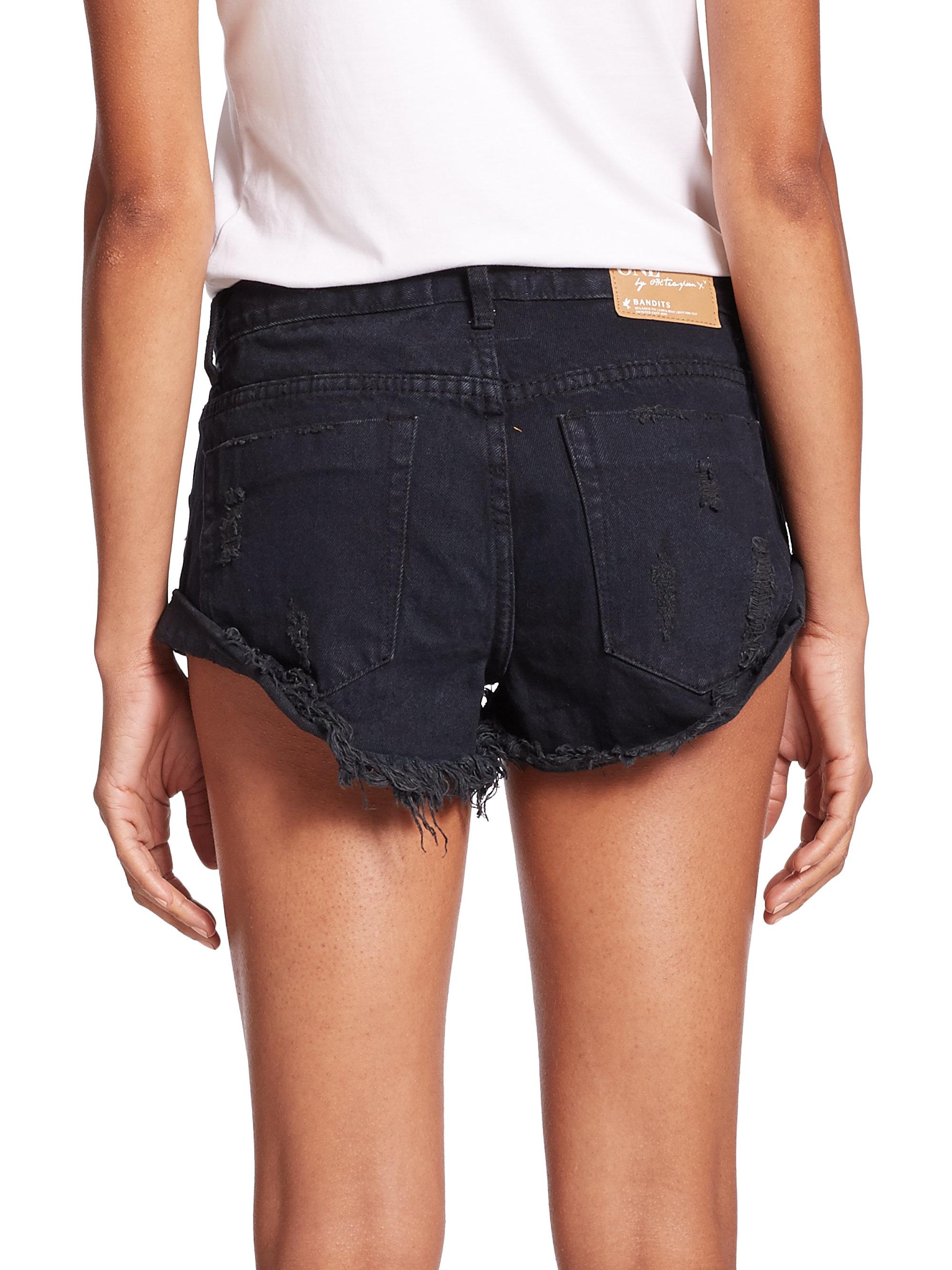 0f0702b0e804f7 Women One Teaspoon Womens Fox Black Bandits Shorts Denim