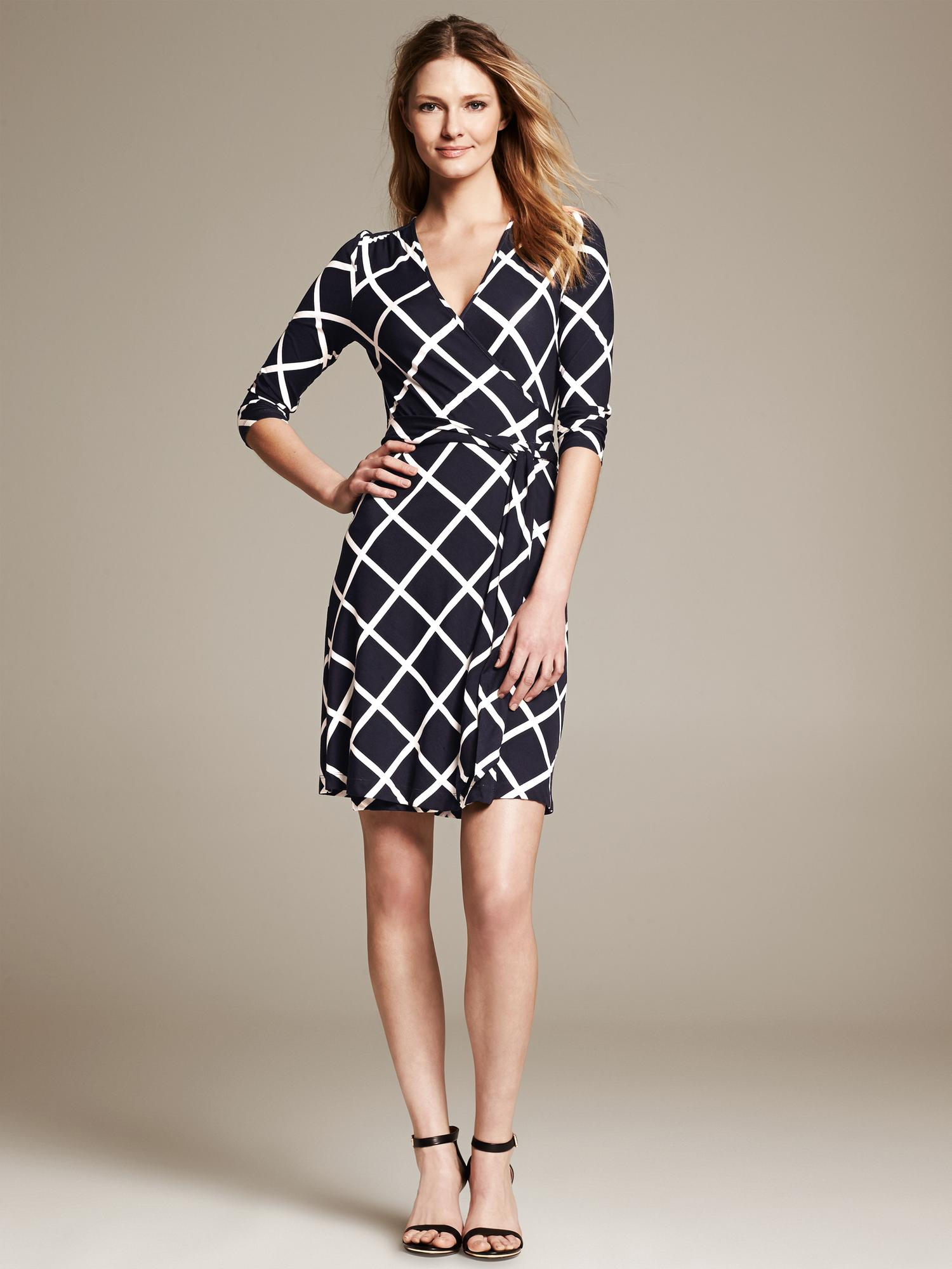 Banana Republic Gemma Windowpane Wrap Dress Preppy Navy In