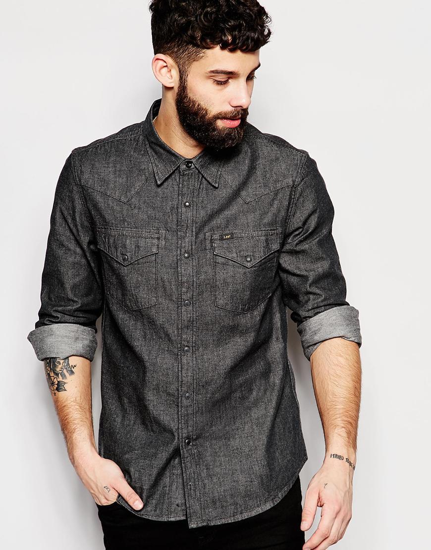 Lee jeans Denim Shirt Slim Fit Western Clean Grey in Gray ...