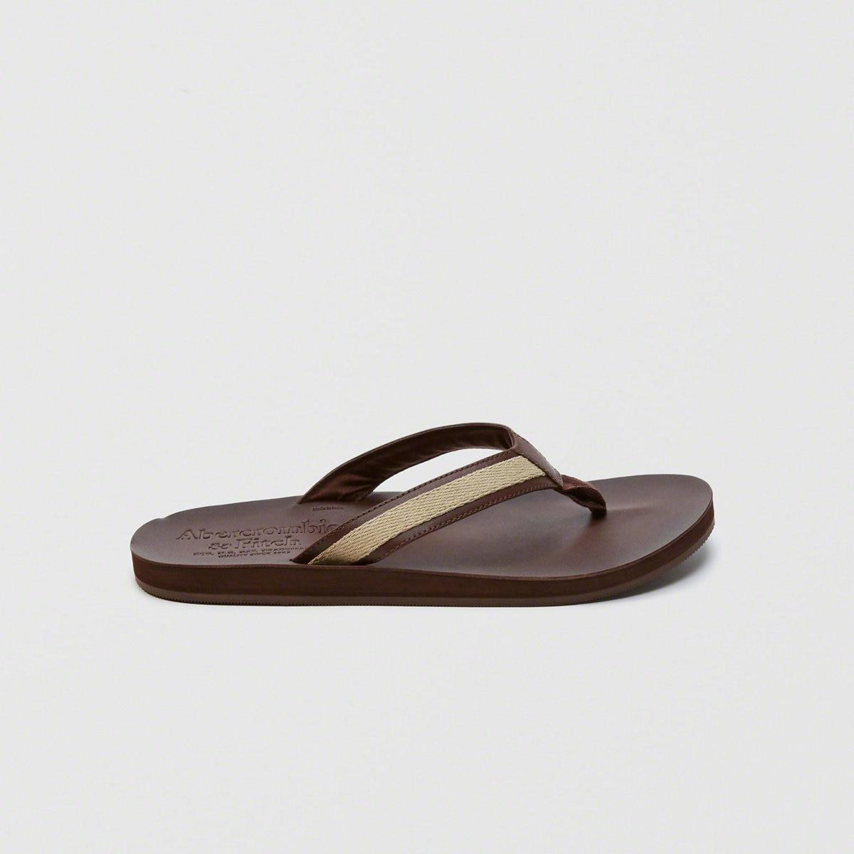 6eb39c0419c83 Lyst - Abercrombie   Fitch Leather Flip Flops in Brown for Men