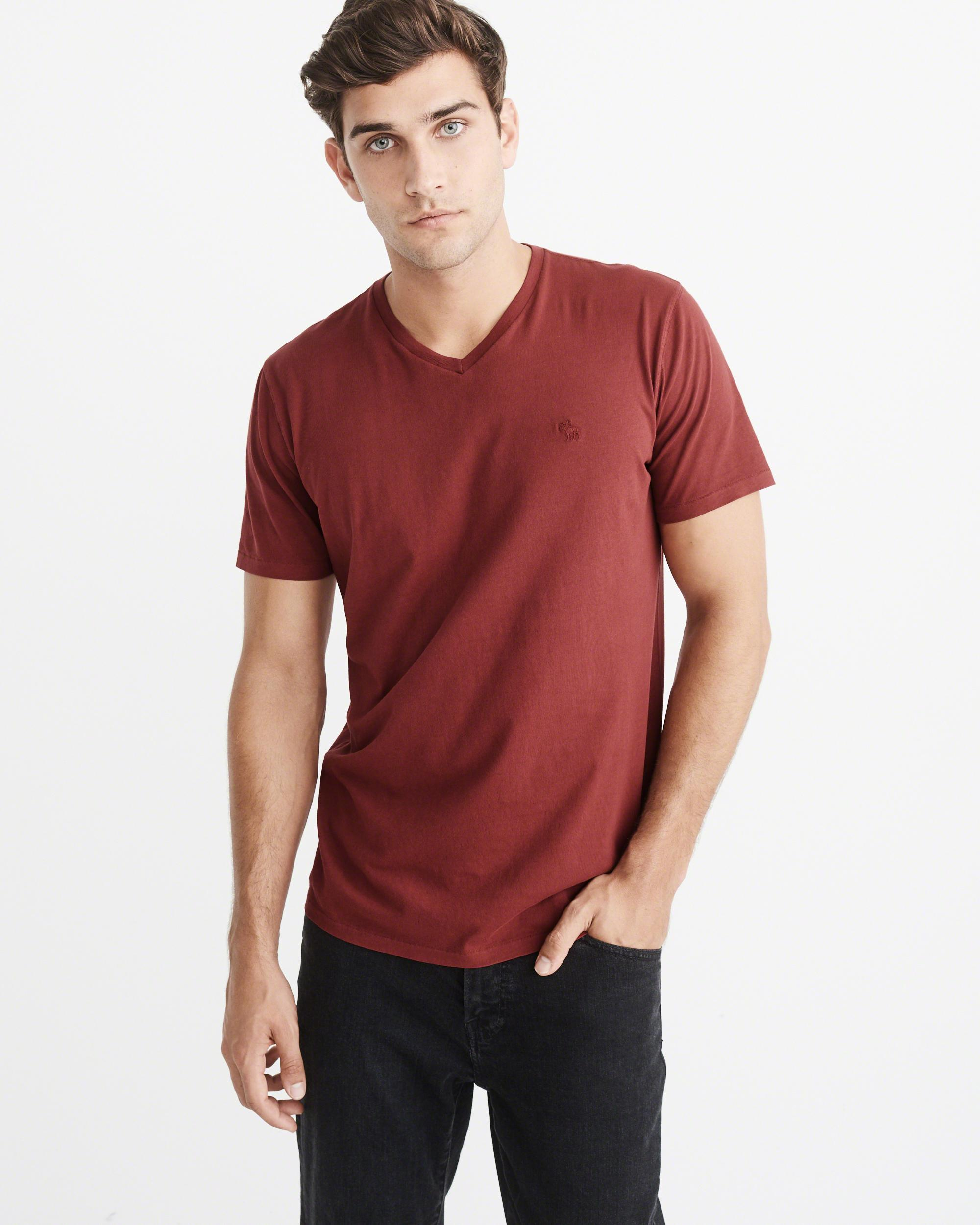 e14025743466 Lyst - Abercrombie   Fitch Garment Dye V-neck Pocket Tee in Red for Men