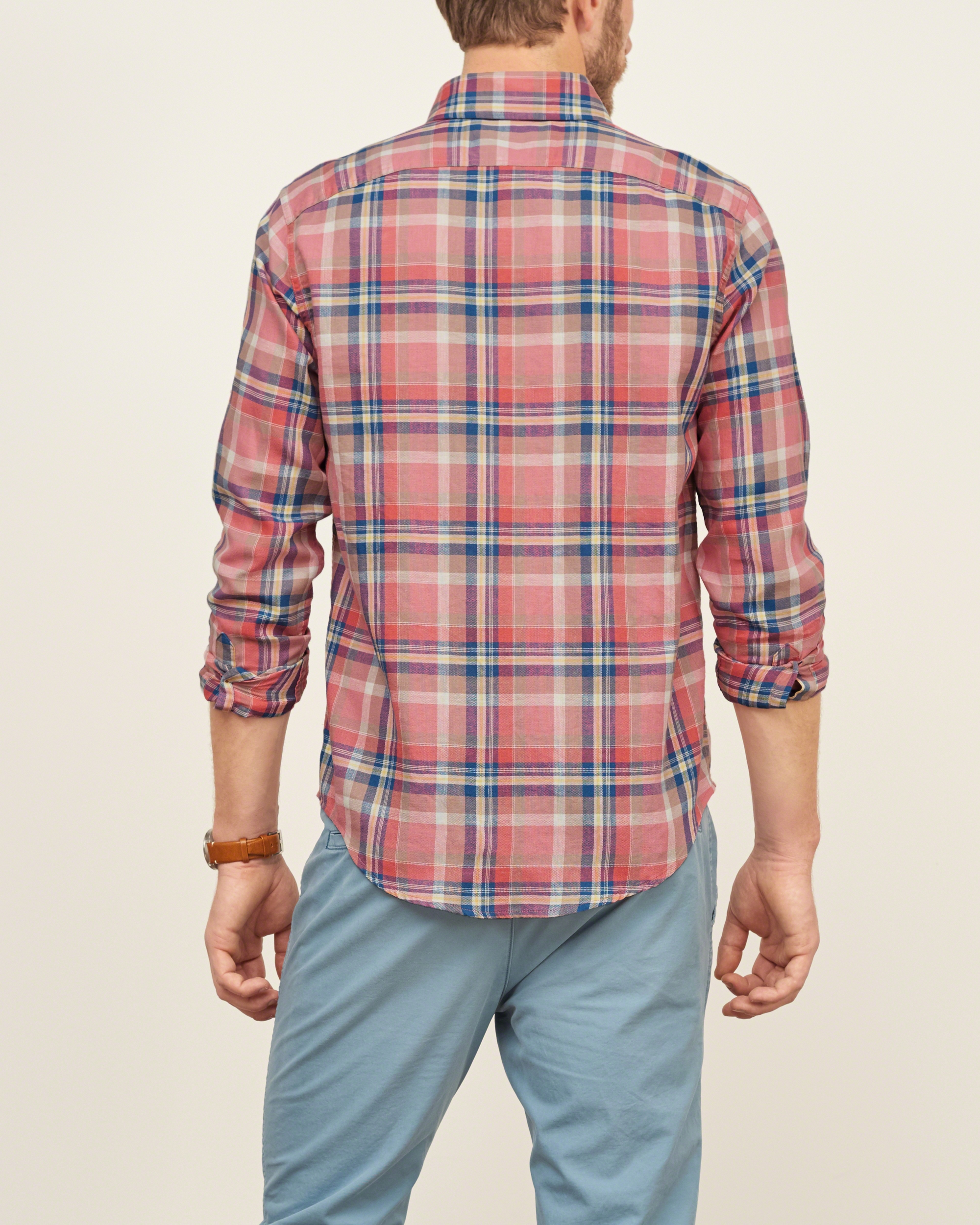 abercrombie amp fitch madras plaid shirt for men lyst