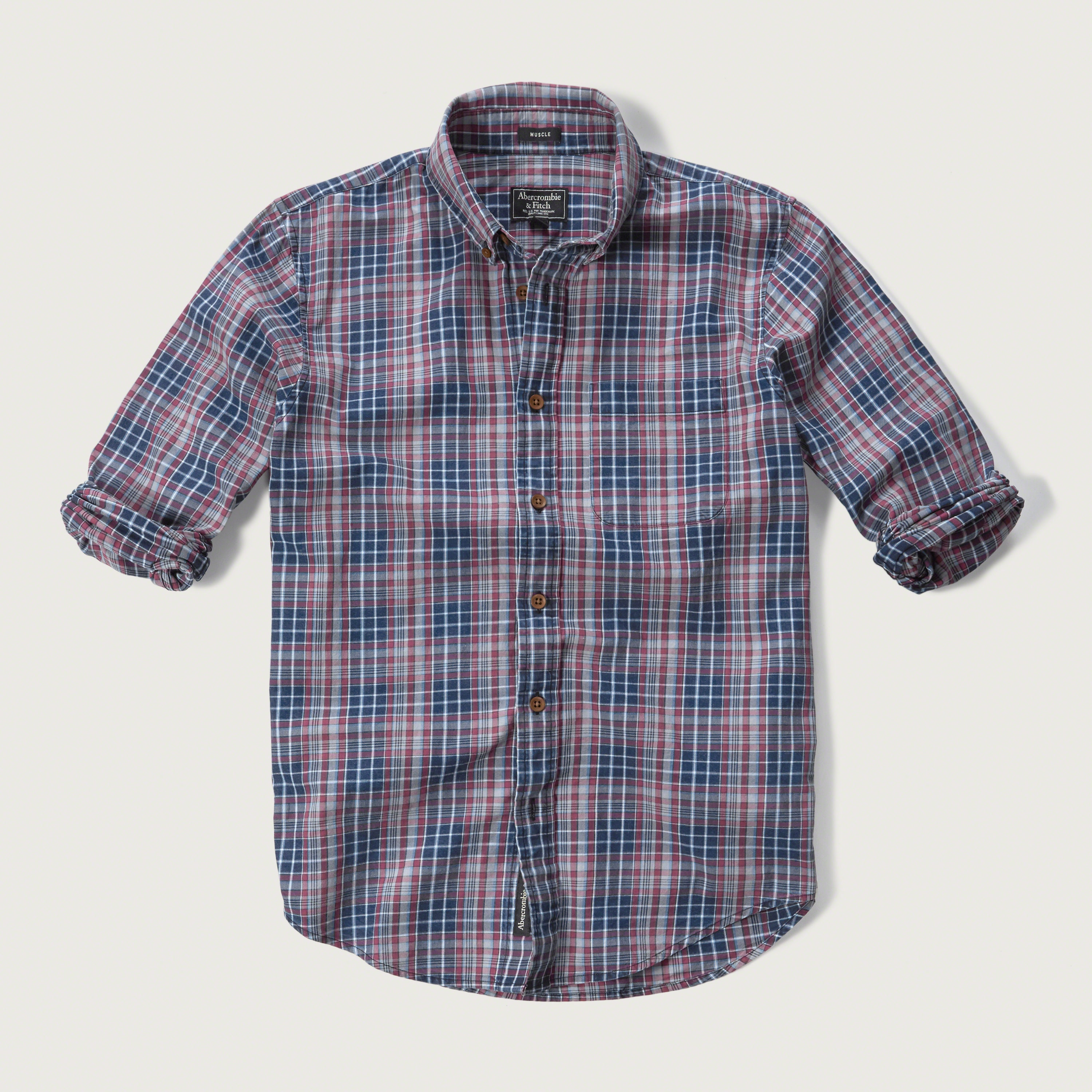 lyst abercrombie amp fitch plaid textured shirt in blue