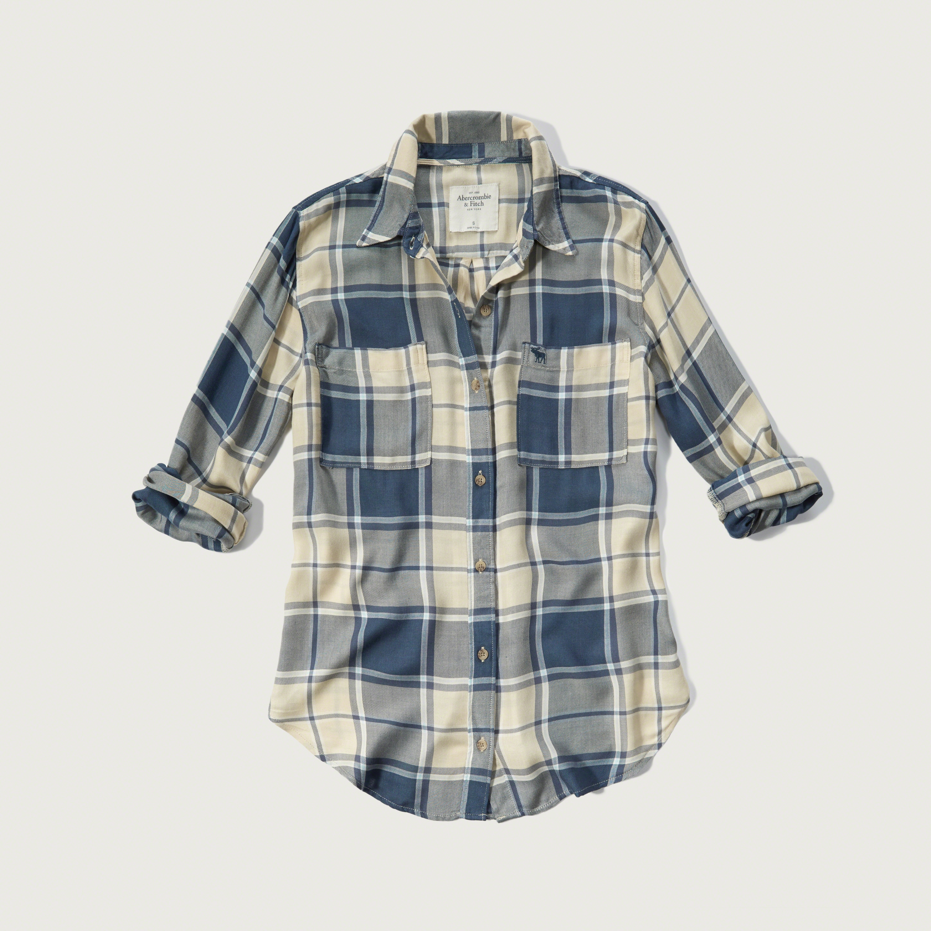 Lyst abercrombie fitch drapey plaid shirt in blue for Blue and yellow plaid dress shirt
