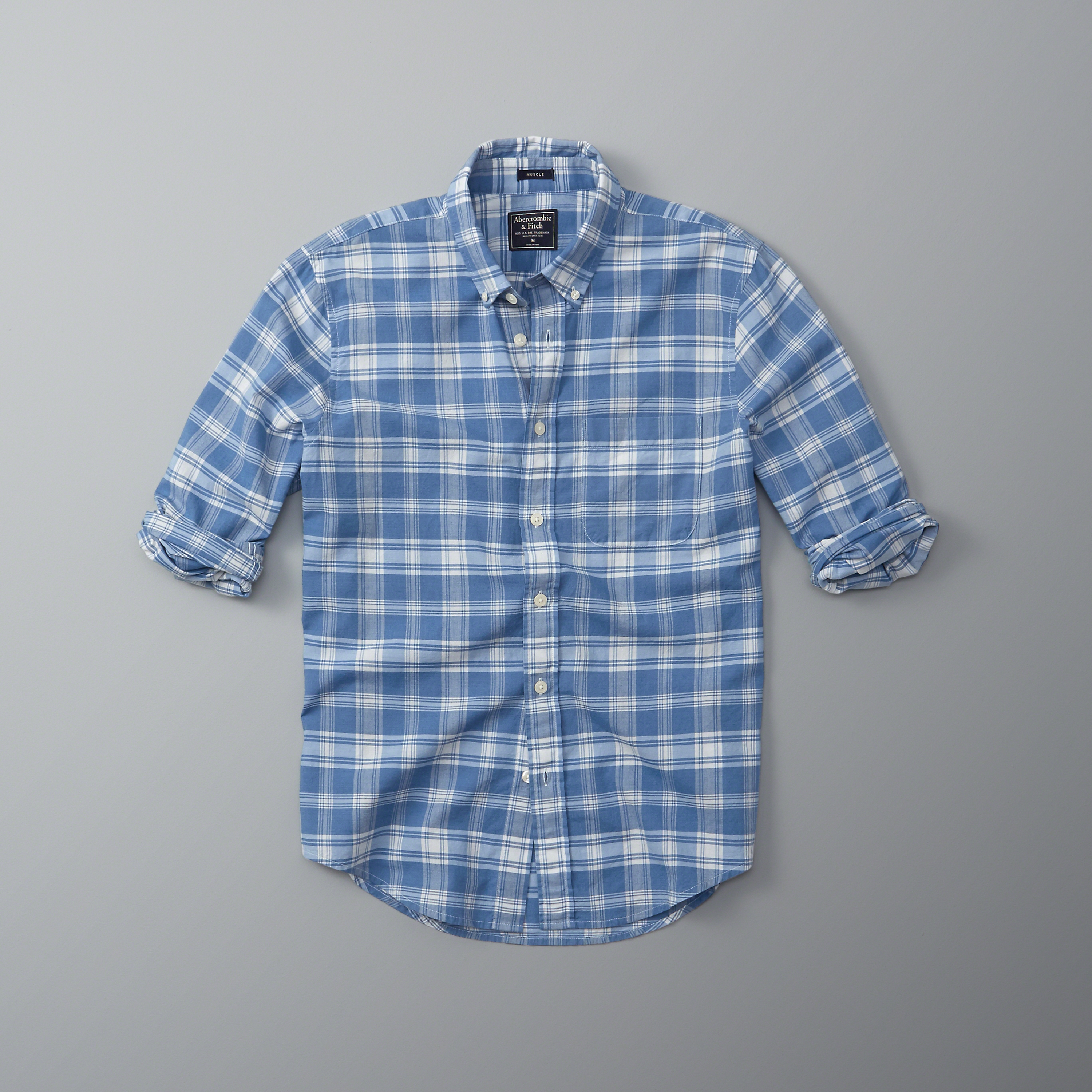 lyst abercrombie amp fitch plaid madras shirt in blue for men
