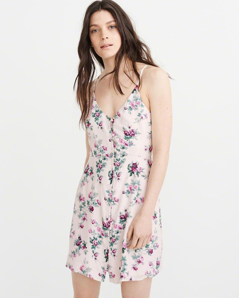 a76a08d812eb Lyst - Abercrombie & Fitch A&f Button Swing Dress in Pink