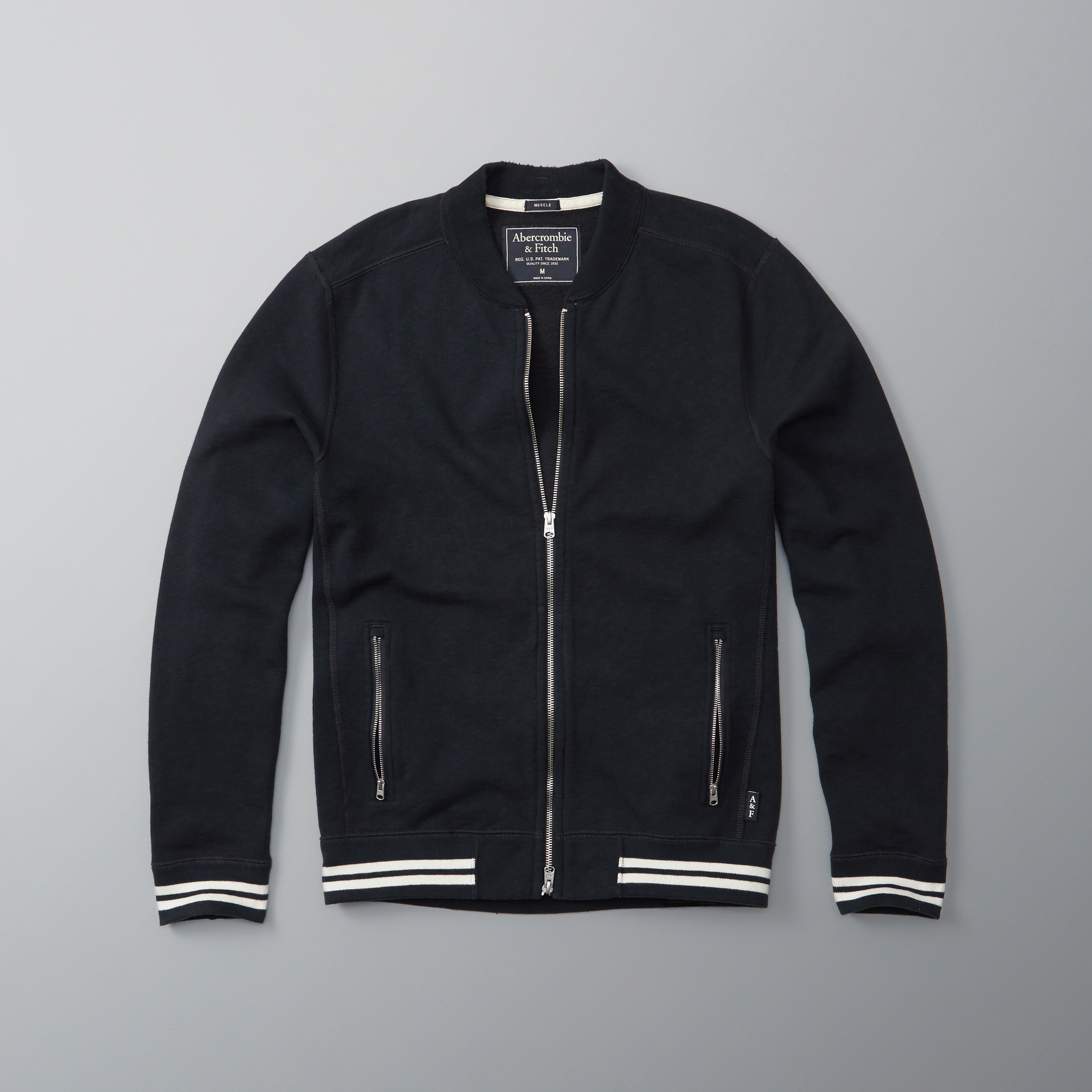 Abercrombie & Fitch Full-zip Baseball Jacket In Blue For