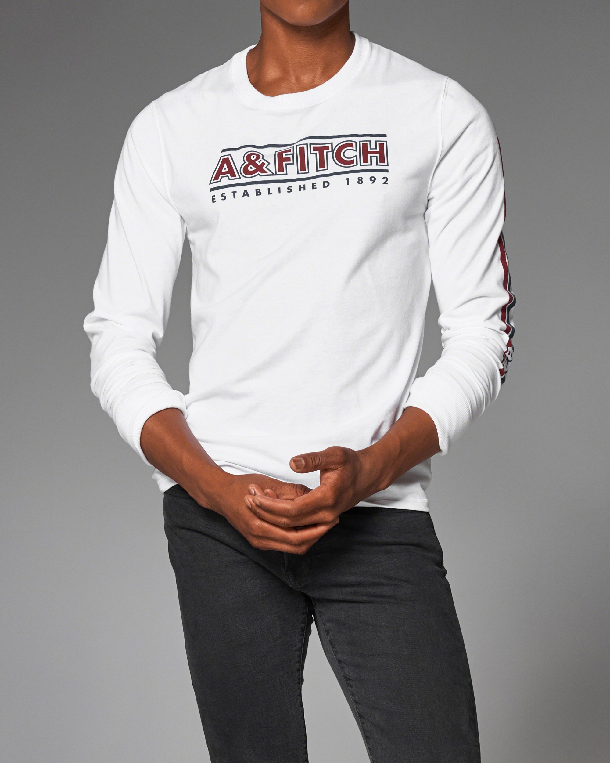 Lyst abercrombie fitch graphic long sleeve tee in for Abercrombie and fitch tee shirts
