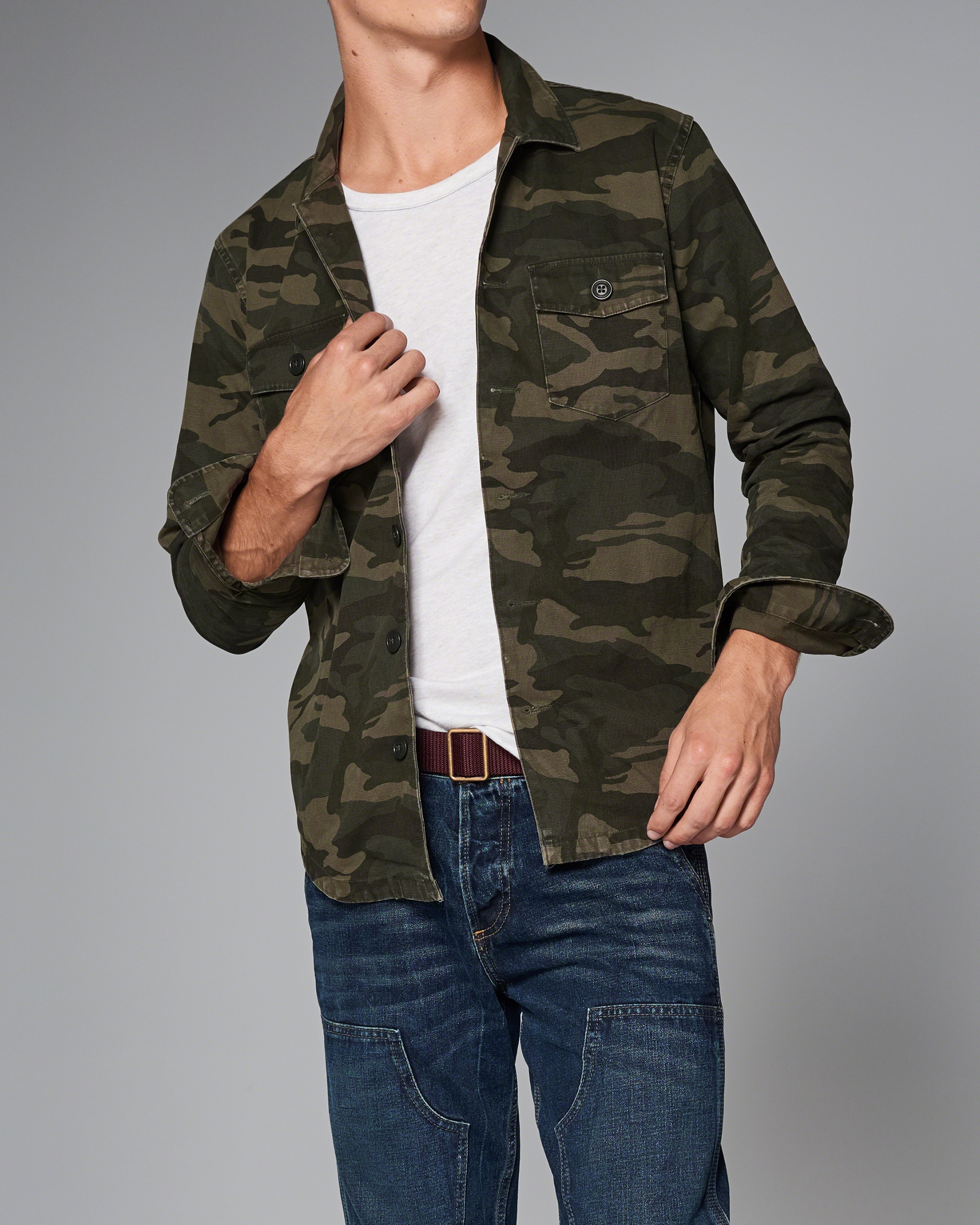Abercrombie & Fitch Camo Military Shirt Jacket In Green