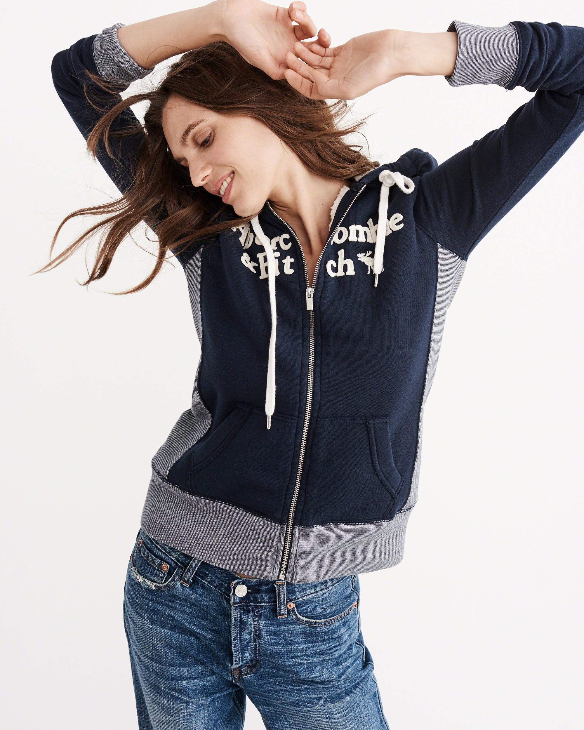 Abercrombie & Fitch Sherpa Full-zip Hoodie In Blue