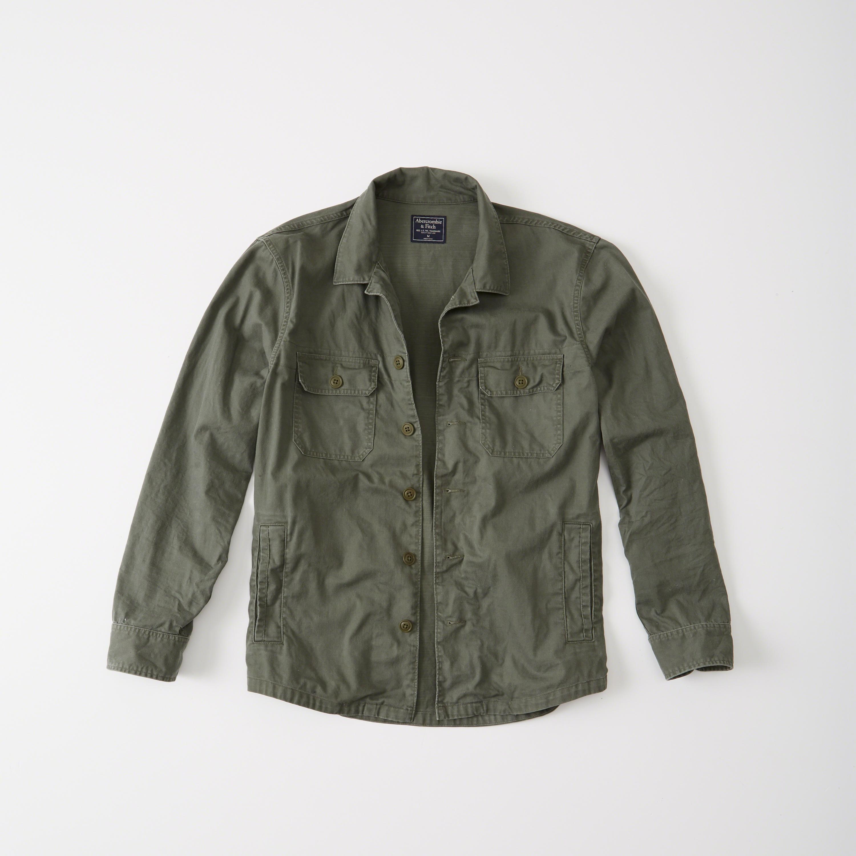 abercrombie fitch military shirt jacket in green for men