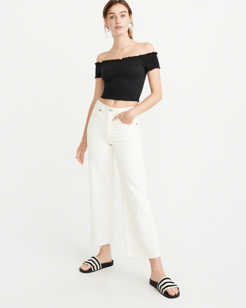 e0751dd5783458 Lyst - Abercrombie   Fitch A f Off-the-shoulder Smocked Top in Black