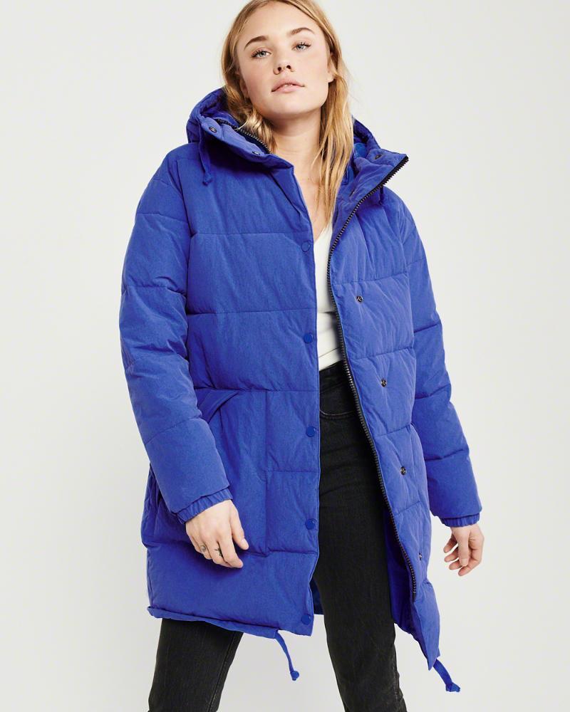 3c297f1e34e5d Lyst - Abercrombie & Fitch A&f Oversized Puffer Coat in Blue