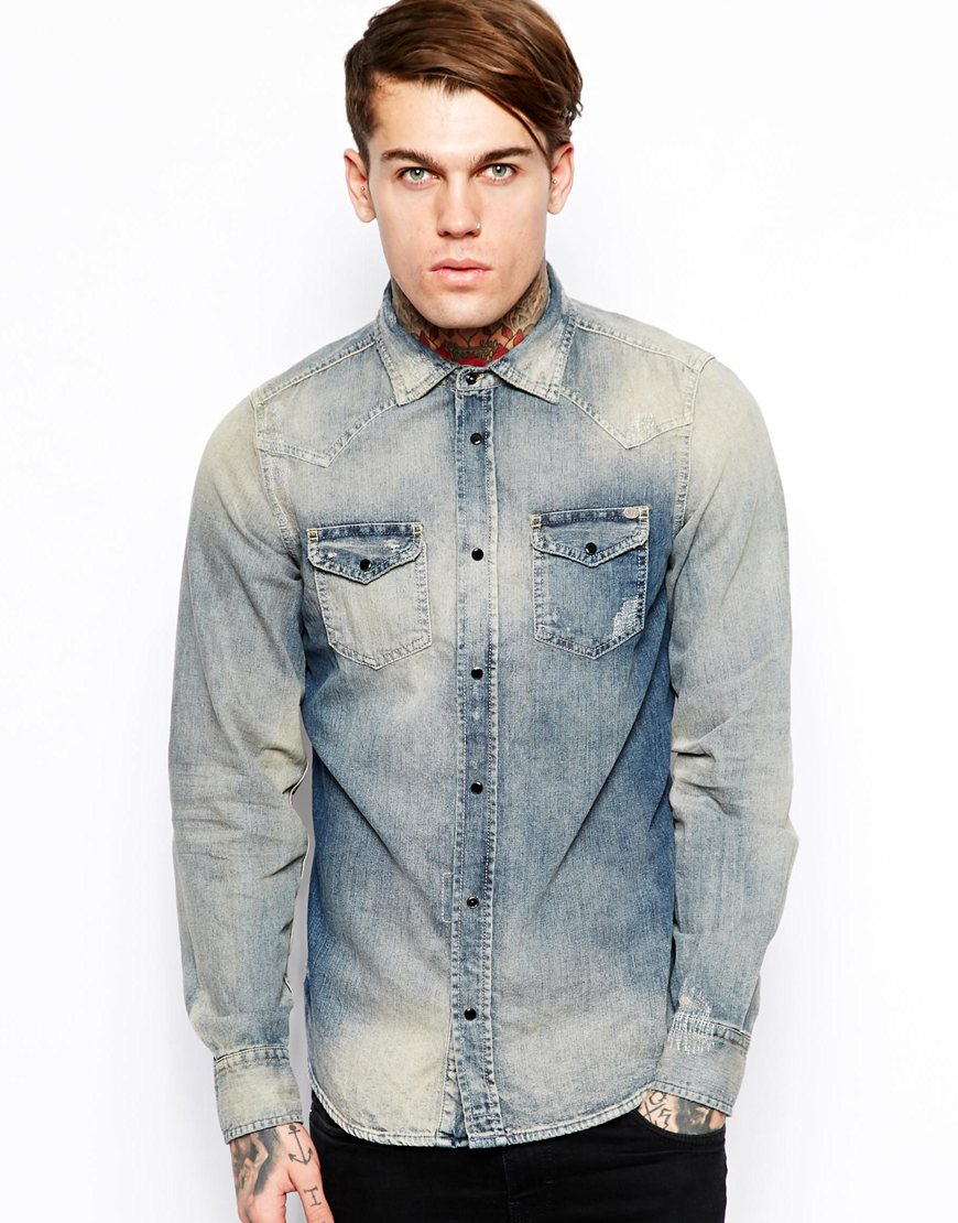 b67d1320444 Lyst - DIESEL Denim Shirt in Blue for Men