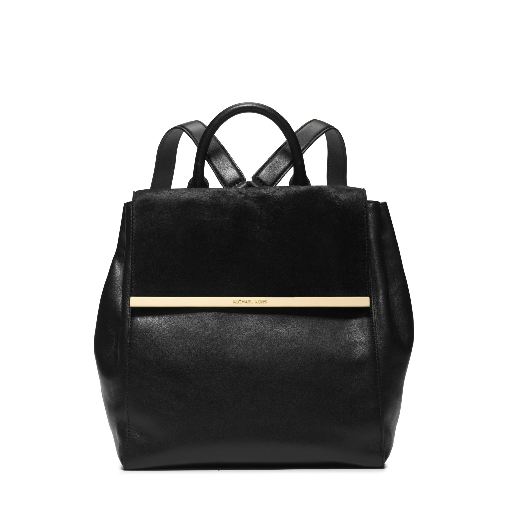 f9b76875c9f38f Michael Kors Lana Hair Calf And Embossed-leather Backpack in Black ...