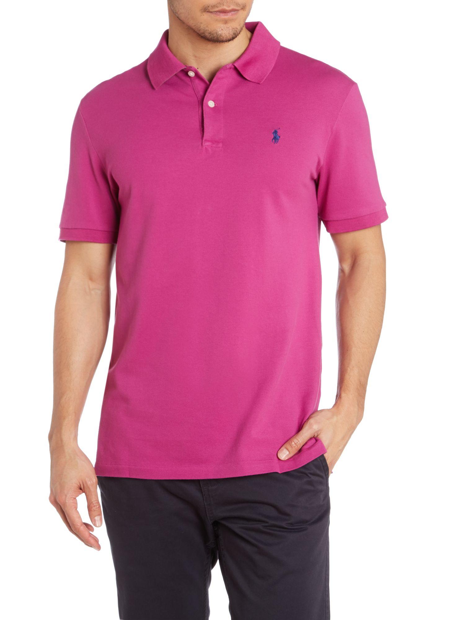 Ralph lauren golf contrast collar polo shirt in pink for for Pink and white ralph lauren shirt