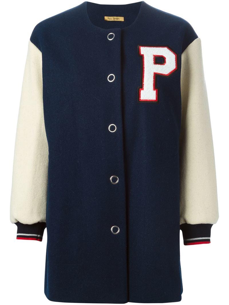 Peter jensen Long Baseball Jacket in Blue | Lyst