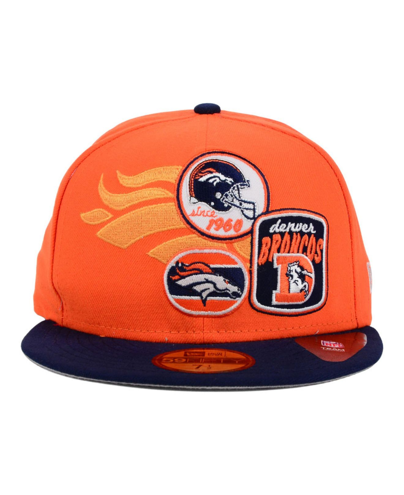24812cb7a09 canada denver broncos new era nfl patch batcher 59fifty cap orange navy  9ea48 56674