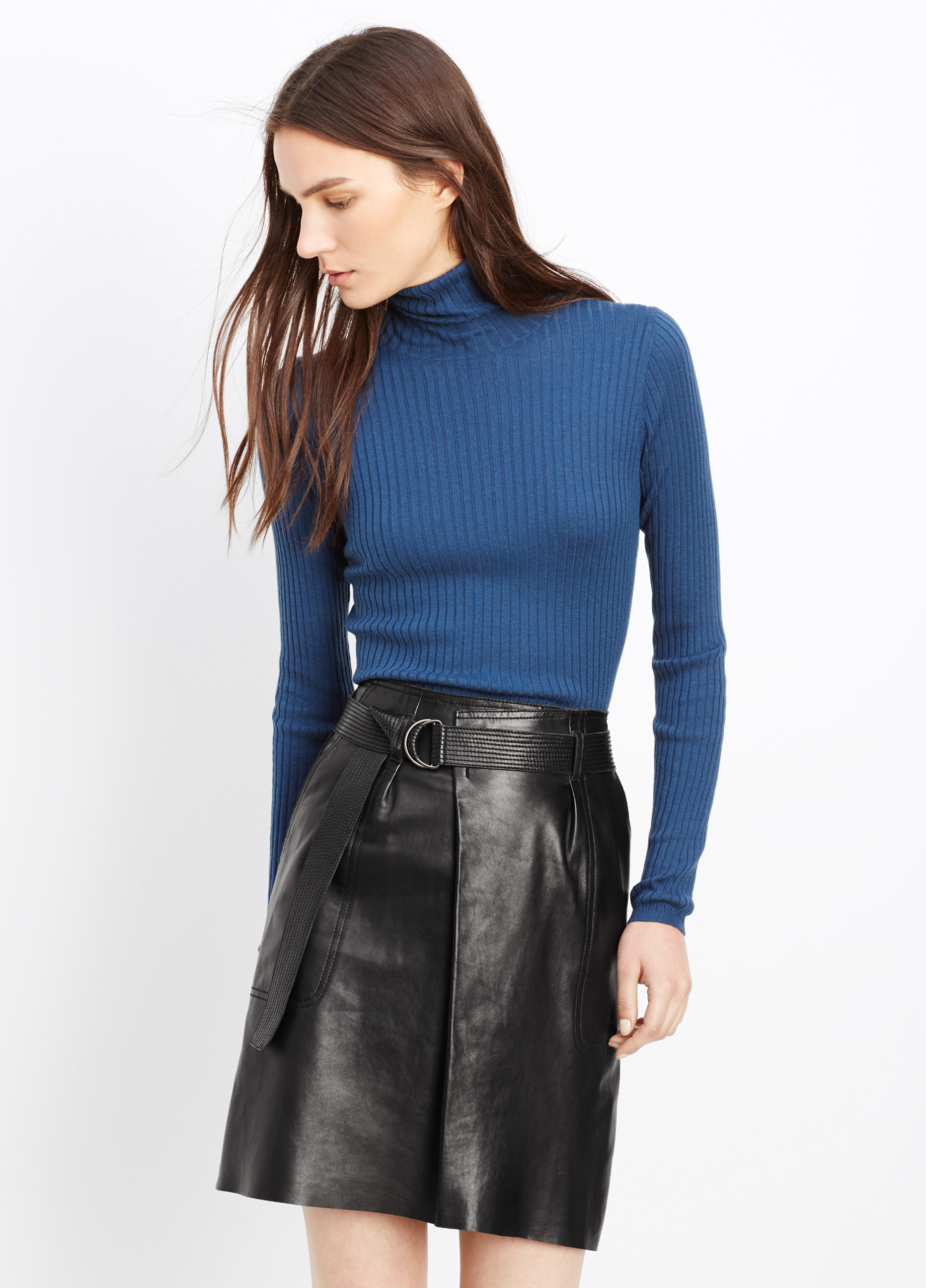 Vince Leather Belted Skirt In Black Lyst