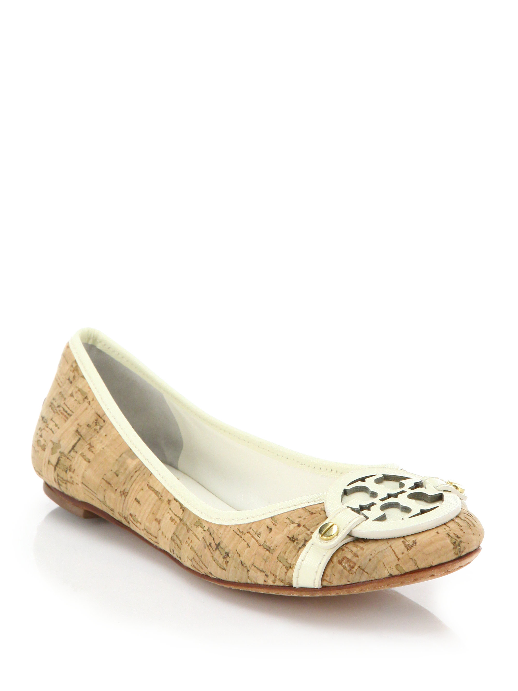 91de77f020ad ... discount lyst tory burch aaden leather trimmed logo cork flats in brown  cbfe8 3a086