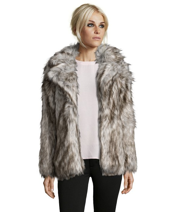 Betsey johnson Silver Faux Fox Fur Coat in Metallic | Lyst