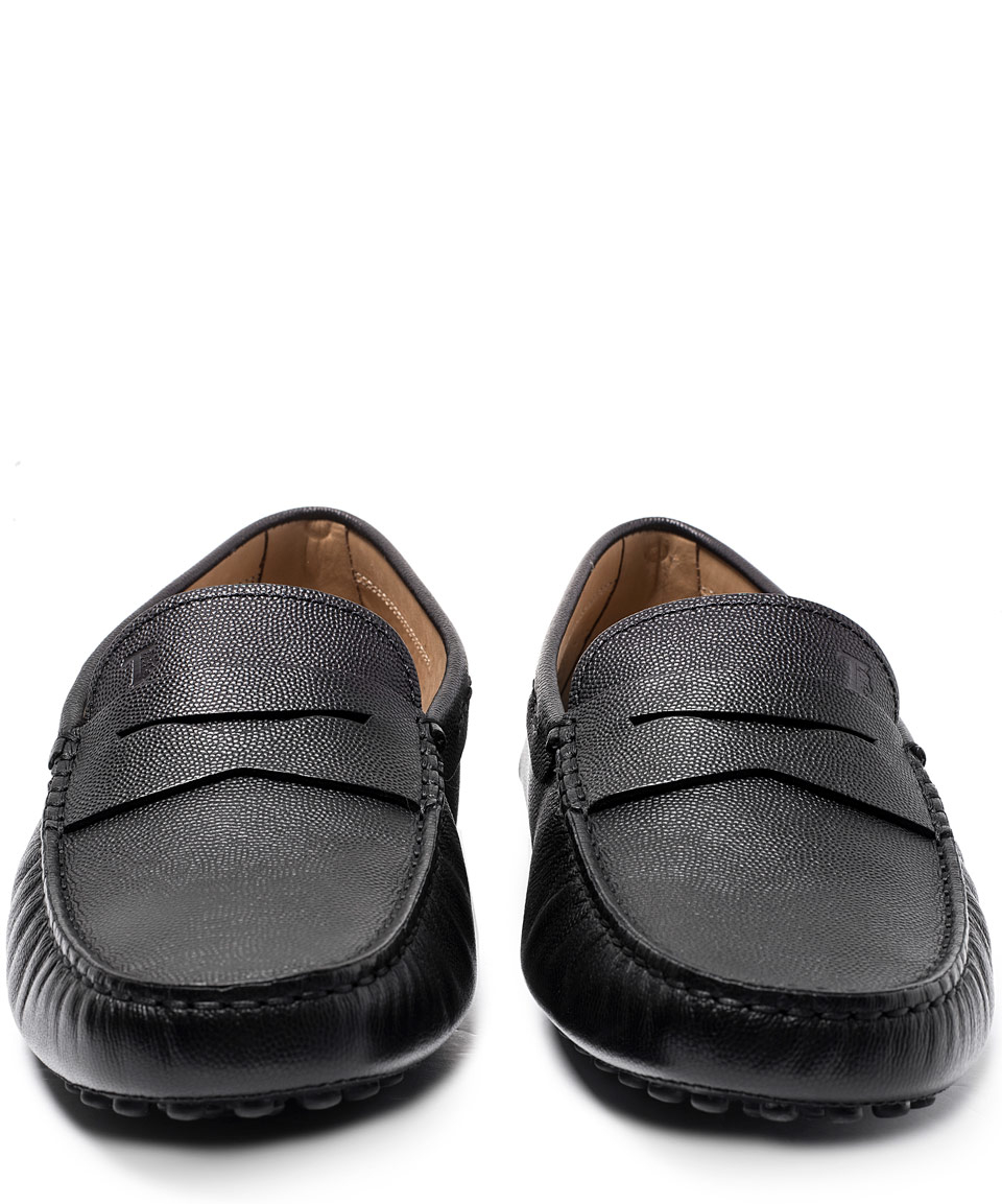 e564b892d7d Lyst - Tod s Black Gommino Leather Penny Loafer Driving Shoes in ...