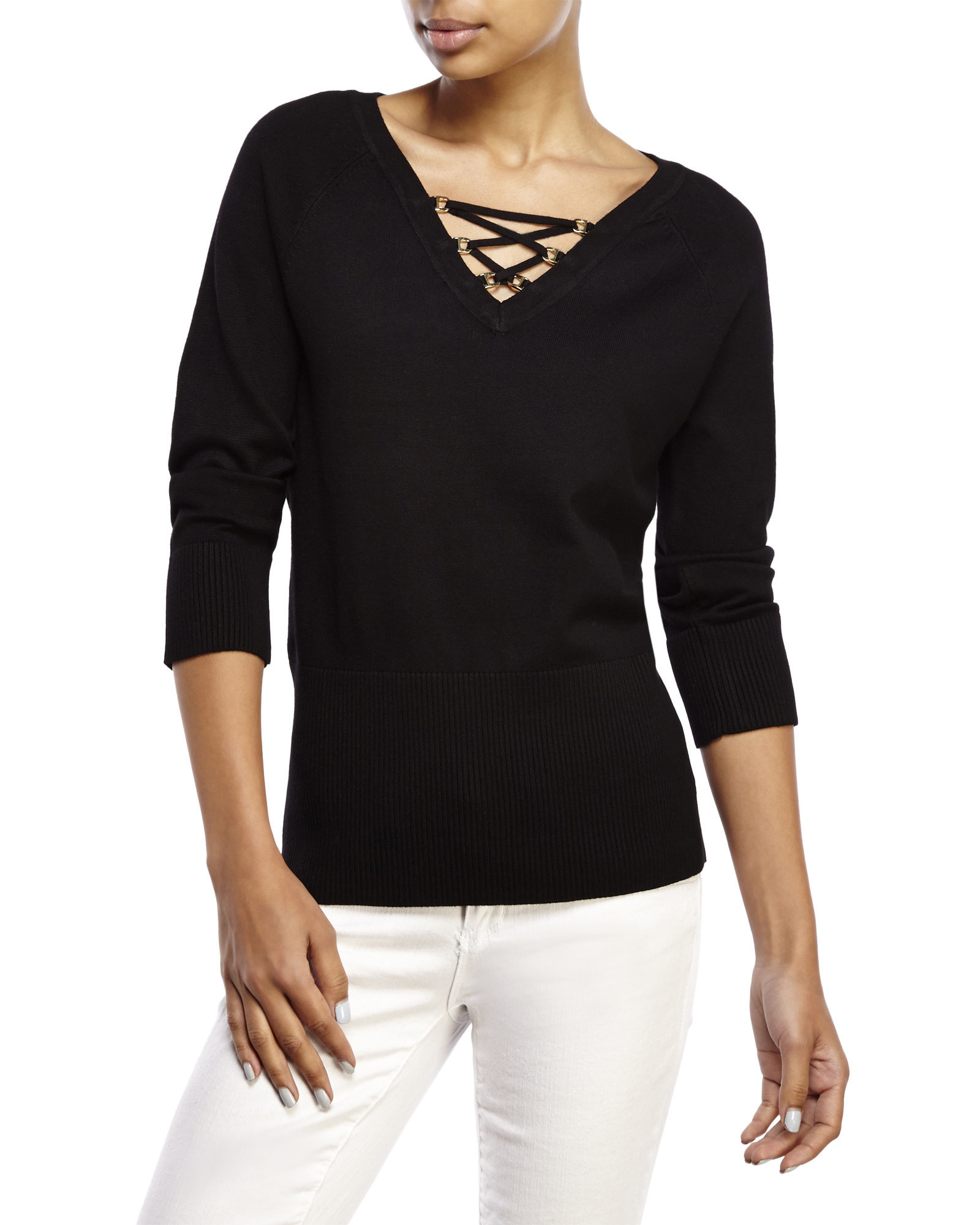 Lyst - Cable & Gauge Lace-Up Sweater in Black