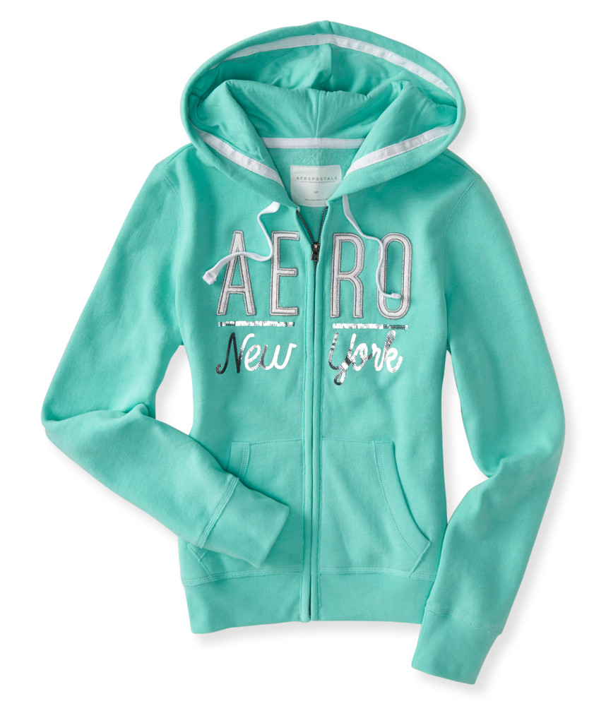 Aéropostale Metallic Aero New York Full-zip Hoodie in Blue ...