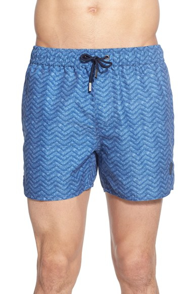 440cb916bd Lyst - Native Youth Zigzag Print Swim Trunks in Blue for Men