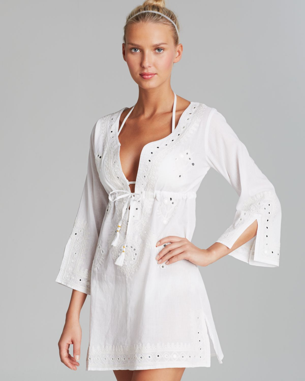 05e2f17300 Debbie Katz Shanti Mirror Cotton Tunic Swim Cover Up in White - Lyst