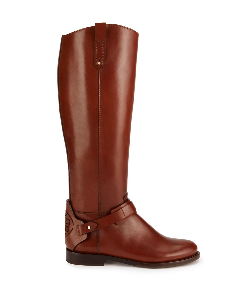 Tory Burch Derby Leather Riding Boots In Brown Almond Lyst