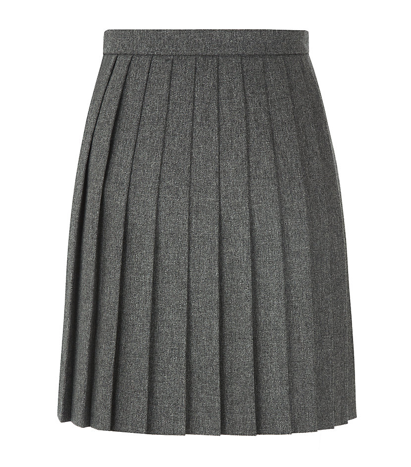 laurent pleated wool mini skirt in gray lyst