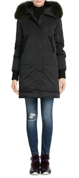 Kenzo Down Parka With Fur-trimmed Hood - Black in Black | Lyst